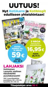 Tilaa KotiAarre ja Kotiblogit edulliseen kestotilaushintaan. Lehdet ilmestyvät kumpikin 5 kertaa vuodessa (2017).